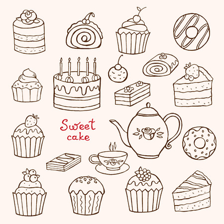 Cakes and desserts set doodles on a white background drawn by hand.