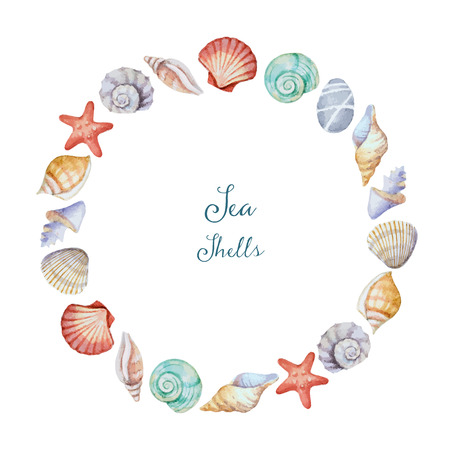 Watercolor round frame of sea shells, illustration.