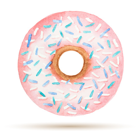 donut: Watercolor donuts isolated on a white background, vector illustration.