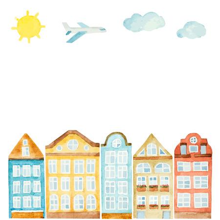 Aquarel huis, wolken, vliegtuig, zon op een witte achtergrond. Vector illustratie. Stock Illustratie