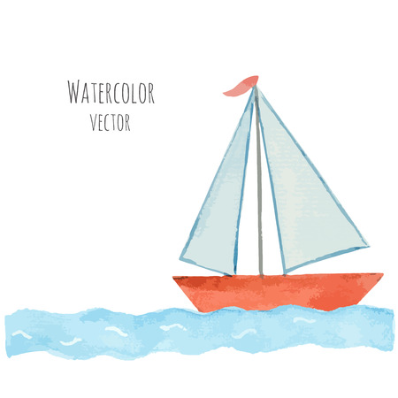 Watercolor boat with a flag on the blue waves template for your design. Vector illustration.
