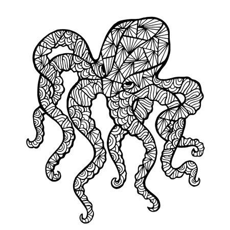 pulpo: pulpo vectorial estilizada, zentangle aislado sobre fondo blanco. colección de mar para su diseño.