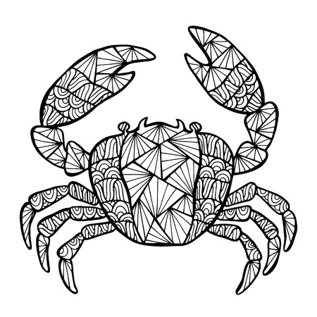 cangrejo caricatura: Vector cangrejo estilizado, Zentangle aislados sobre fondo blanco. Colecci�n del mar por su dise�o.