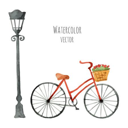 bicicleta vector: Bicicleta con la cesta de la acuarela y la linterna aislados sobre fondo blanco. Ilustración del vector. Vectores