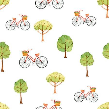 bike vector: Acuarela sin patr�n, los �rboles y la bicicleta. Ilustraci�n del vector. Vectores
