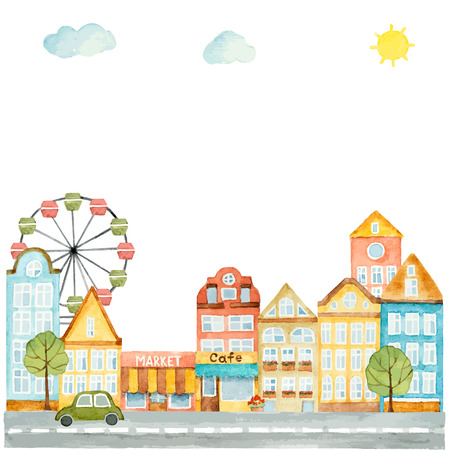 Watercolor elements of urban design, houses, cars, vector illustration.