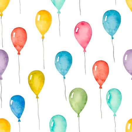jugetes: Acuarela sin patr�n, con globos de colores, ilustraci�n vectorial.