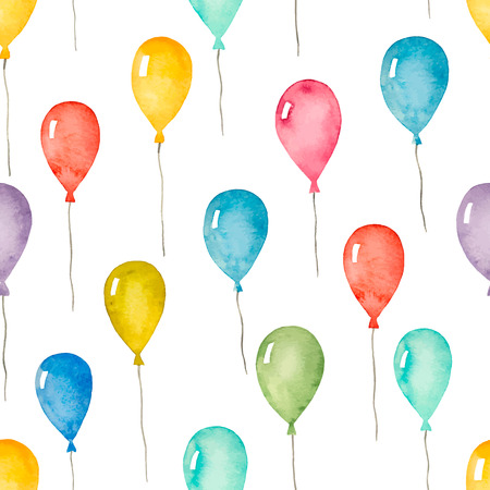 Watercolor seamless pattern with colorful balloons, vector illustration. Çizim