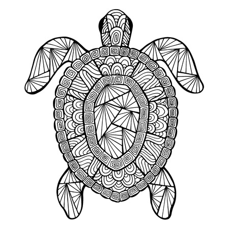 Stylized vector turtle, zentangle isolated on white background. Sea collection for your design.