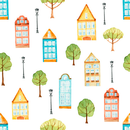 streetlight: Watercolor seamless pattern, houses, trees, lights.  Vector illustration. Illustration