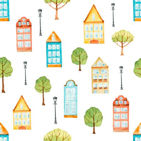 Watercolor seamless pattern, houses, trees, lights.  Vector illustration. Ilustração
