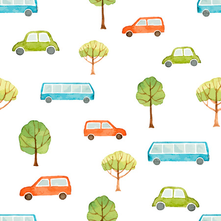car pattern: Watercolor seamless pattern, car, bus and trees . Vector illustration.