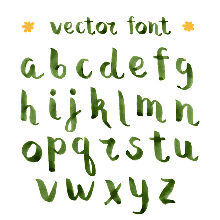 Handmade ink green alphabet.  alphabet with capital letters.Brush painted letters. Illustration