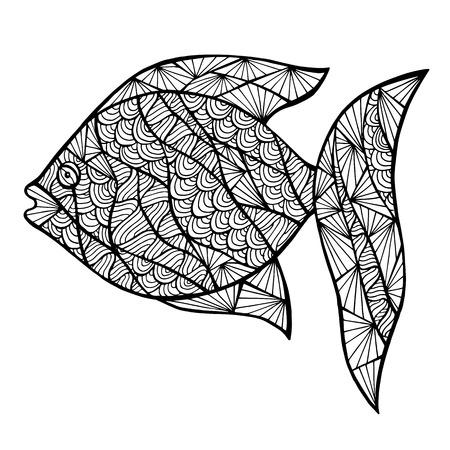 Poissons stylisés, zen-enchevêtrement isolé sur fond blanc. Collecte de mer pour la conception. Banque d'images - 43908603