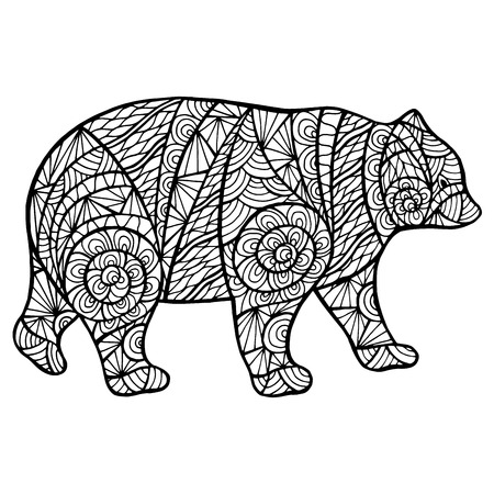 predators: Stylized bear zen-tangle handmade isolated on a white background for  design. Collection of animals.