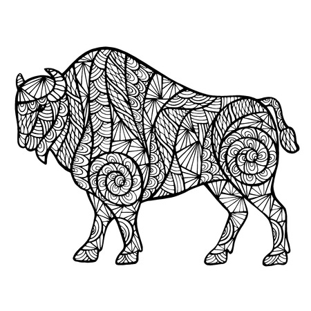 predators: Zen-tangle stylized buffalo, handmade isolated on a white background for design. Collection of animals.