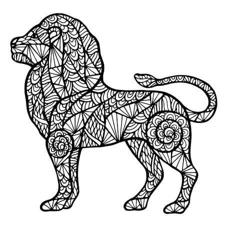lijntekening: Geïsoleerd gestileerde leeuw zentange handgemaakte vector op een witte achtergrond voor uw ontwerp. Collectie van dieren. Stock Illustratie