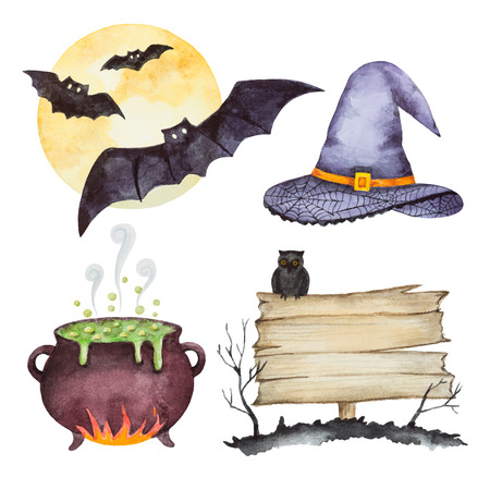 jack pot: Watercolor set of elements for a happy Halloween party vector illustration. Vectores