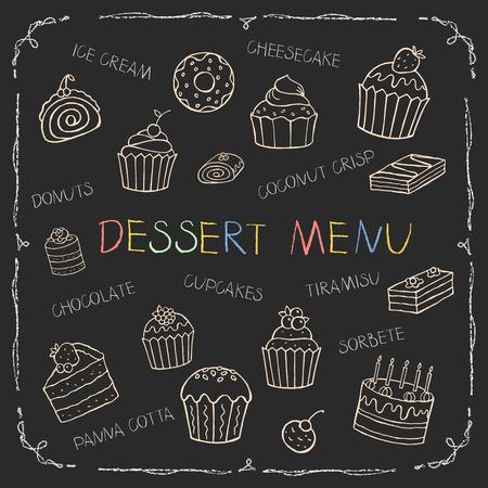 Dessert menu on chalk Board for your design, vector illustration.