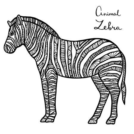 predators: Stylized vector Zebra, zentangle isolated on white background.Collection of animals for your design.