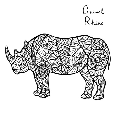 predators: Stylized vector Rhino, zentangle isolated on white background. Collection of animals for your design.