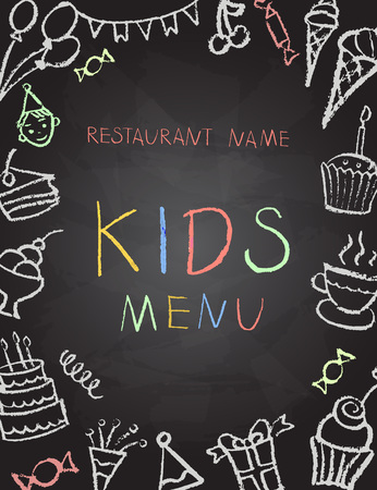 kids background: Desserts menu on chalk Board for childrens parties, vector illustration. Illustration