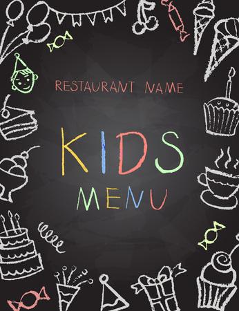 Desserts menu op schoolbord voor kinderfeestjes, vector illustratie.