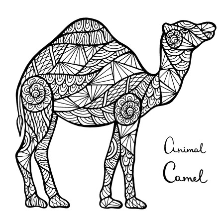 camel desert: Stylized vector camel, zentangle isolated on white background. Collection of animals for your design.