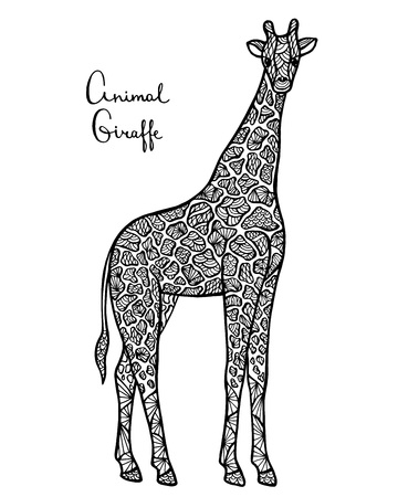 predators: Stylized vector giraffe, zentangle isolated on white background. Collection of animals for your design. Illustration