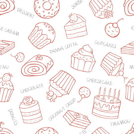 sweet background: Seamless pattern of sweet cupcakes and cakes on a white background with the letter, vector illustration. on a white background with the letter, vector illustration.