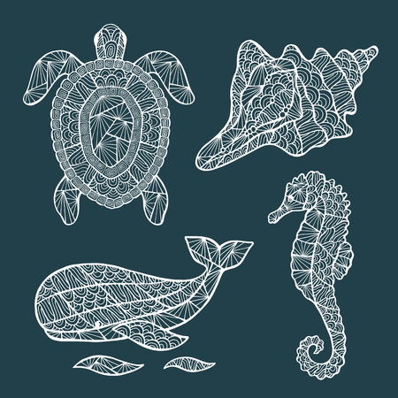 at sea: Handmade stylized set of turtle, whale, sea horse, shell.  Illustration