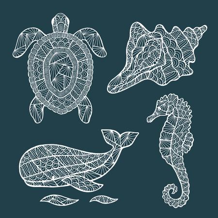 caballo de mar: Hecho a mano estilizado conjunto de tortuga, ballenas, caballo de mar, concha.