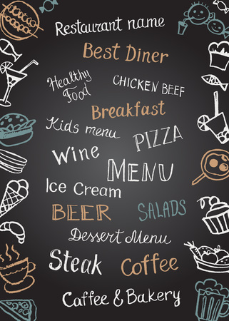 drink coffee: Elements and letter hand painted in chalk on the chalk-Board menu cafes and restaurants.