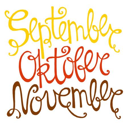 september: Hand drawn autumn inscription months of September, October, November.