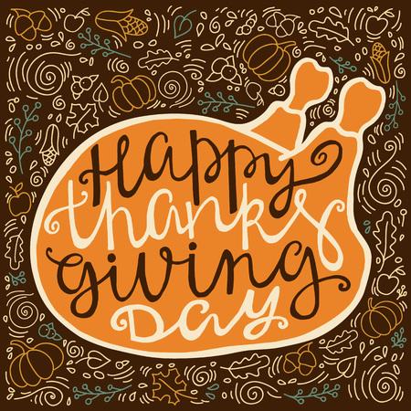 thanksgiving day symbol: poster d'epoca per il Ringraziamento con la lettera a mano. Vettoriali