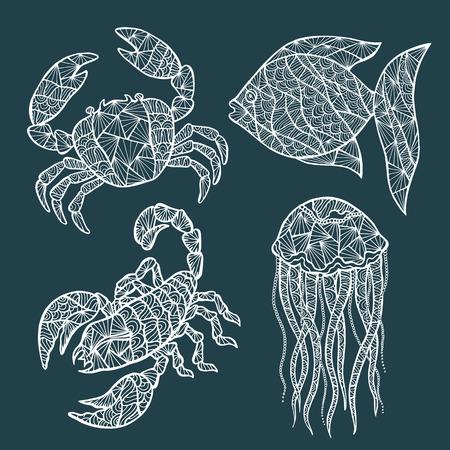 Handmade stylized set of crab, crawfish, fish, jellyfish. Illustration