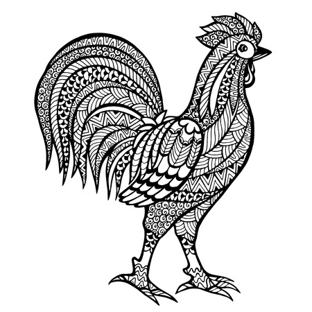 bird: stylized  cock.  Illustration