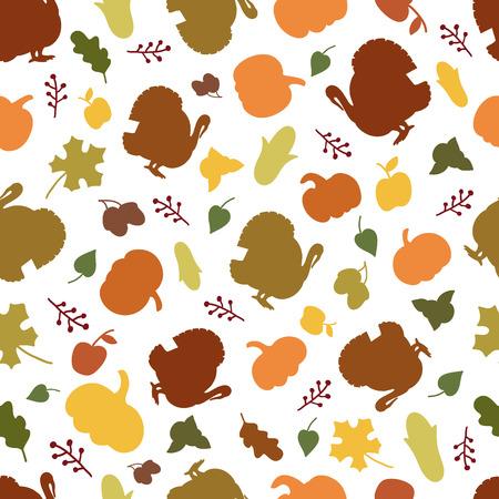 thanksgiving day symbol: Seamless pattern di simboli autunno per il ringraziamento. Vettoriali