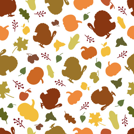 Seamless pattern of autumn symbols for Thanksgiving. Illustration