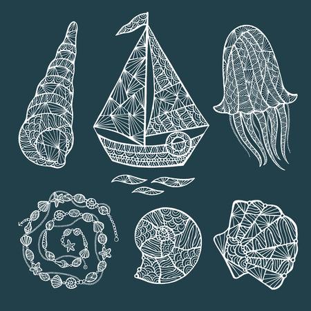 seashell: Handmade stylized set