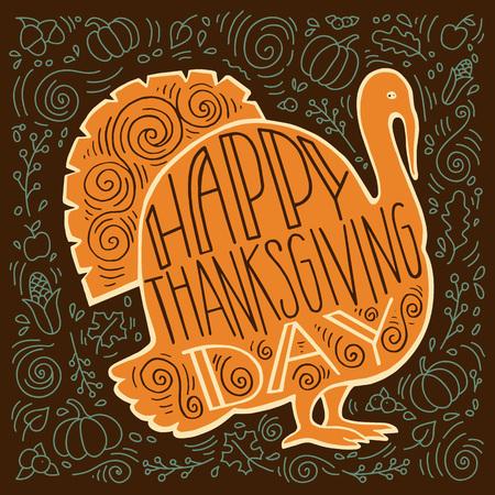 thanksgiving day symbol: Dipinta a mano illustrazione di una Turchia e regali autunno con una lettera il giorno del Ringraziamento. Vettoriali