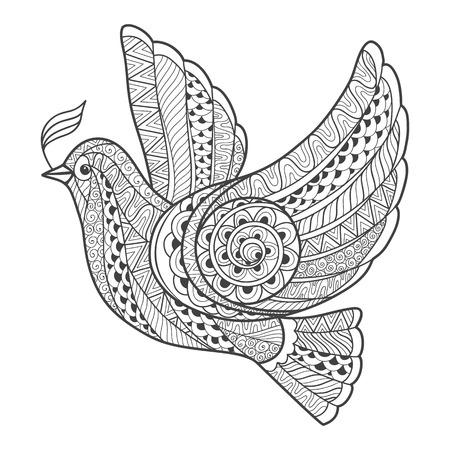 paz: Pomba estilizada Zentangle com filial. Ilustração do vetor isolada no fundo branco.