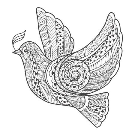 flight: Zentangle stylized dove with branch. Vector illustration isolated on white background.
