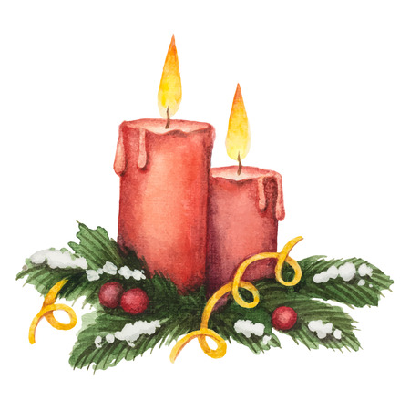 snow tree: Watercolor red candle and fir branches with berries, element for Christmas design cards.