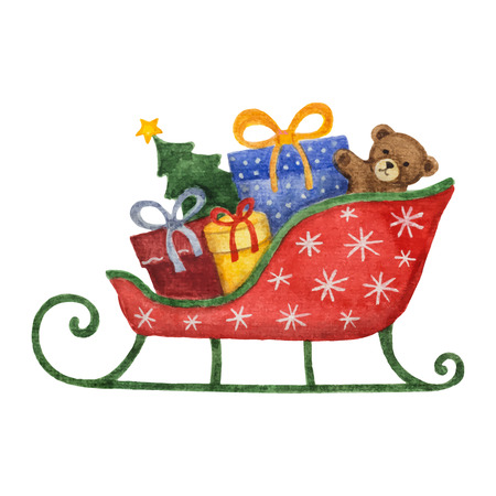 teddy bear christmas: Watercolor sleigh with presents, Christmas tree and  Teddy bear. Design element for Christmas.