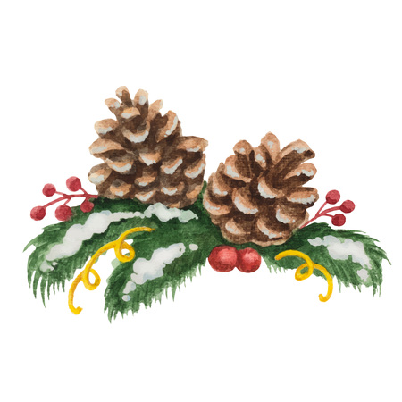 snow tree: Watercolor Christmas illustration of fir tree branches and cones. Illustration