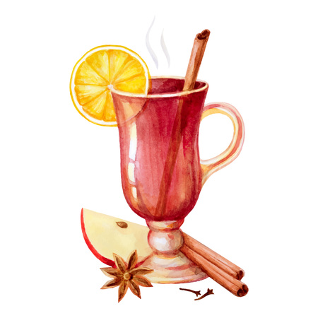 Watercolor mulled wine, spices and lemon. Postcard for Christmas and new year.