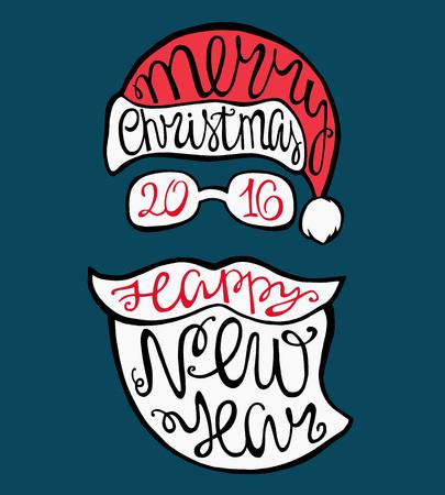 gafas: Pap�, sombrero, barba, gafas y letras handdrawn para tarjetas de felicitaci�n. Vector de la tarjeta de Navidad.