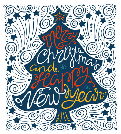 christmas trees: Merry Christmas and happy new year, handdrawn  lettering in the shape of Christmas trees.