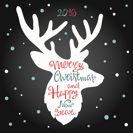 Merry Christmas and happy new year, handdrawn  lettering in the shape of deer.